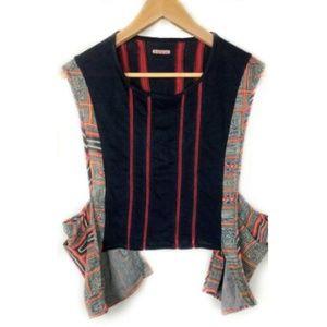 Kapital Sleeveless Top Black Knit Red Cotton Print
